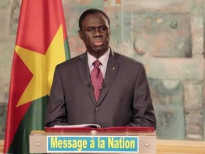 The Transition President, Michel Kafando, announcing the end of the coup d'état. Photo: Lefaso.net
