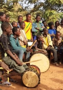 A music class during the Sunday activities of the project that educates and reintegrates street children.